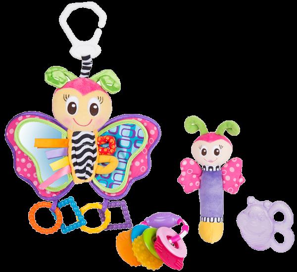 Spiel- und Beißring-Geschenkset Schmetterling (4tlg.)