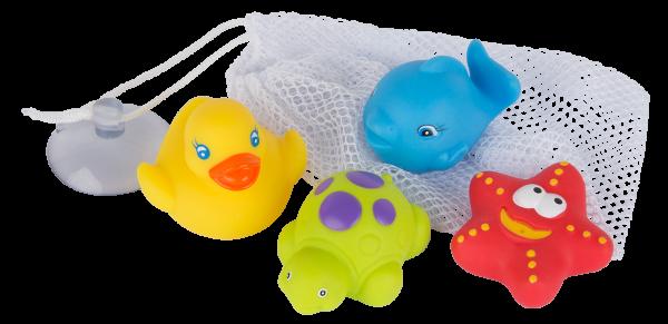 Badespielzeug 4 Freunde mit Aufbewahrungsnetz - wasserdicht-schmutzfrei